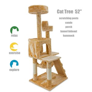 "52 ""Cat Kitty Tree Tower Condo Muebles Scratch Post Pet House Toy Beige Paws"