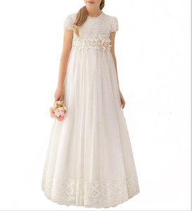Más nuevo hecho a mano de encaje blanco Chiffon Girls Pageant Dress 2019 Girl First Communion Dress Niños Ropa formal Vestidos de niñas de flores para la boda