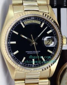 Orologio di alta qualità Asia 2813 Movimento 36mm oro 18kt DayDate PRESIDENT Nero 18038 SANT BLANC Orologi automatici da uomo