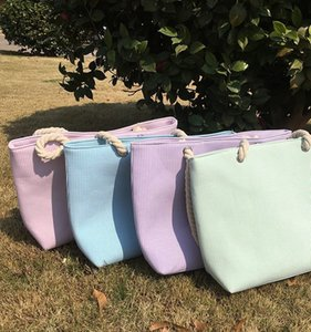 50 stücke 2018 Mädchen Casual Sommer Seersucker Tote Bag Streifen Muster Umhängetasche 4 farben Große Kapazität Frauen einkaufstaschen Mit Futter