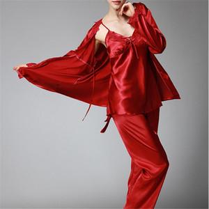 Tailleur pigiama da donna Tute Nuovo autunno inverno Elegante donna in raso di seta 3 pezzi Completo da notte Completo pigiama da notte