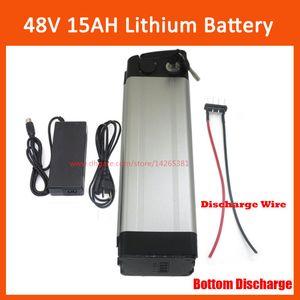Batterie au lithium 48V 15AH argent poisson batterie électrique vélo batterie 54.6V au lithium ion 48v e-bike, droit de douane gratuit