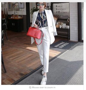 Two 2 Pieces Sets Double Breasted Solid Blazer Jacket & Zipper Pant OL Suit Women Sleeve Hit Color Business Pant Suits Outfits