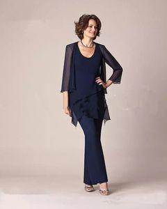 El nuevo vestido azul marino de gasa de la madre de la novia se adapta a las mangas largas más el tamaño de tres piezas Vestido formal de la madre con chaqueta Vestidos de fiesta de noche