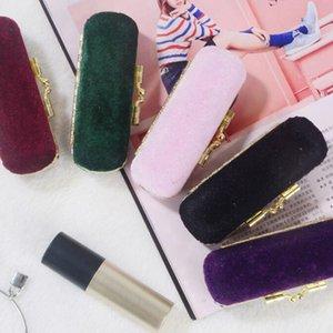 100pcs Retro Long Rooté Flannelette Morbida e delicata Custodia a specchio per rossetto Portatile per donna Trucco Jewerly Box
