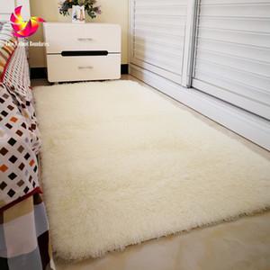 Solid Color Long Hair Carpet Shaggy Soft Area Rug Bedroom Living Room Anti Slip Kids Mat Plush Rug hallway carpet big size Mat Blanket