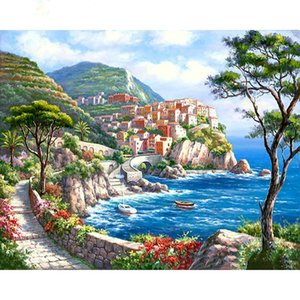 Frameless Seascape Diy Painting By Numbers Modern Wall Art Painting &Calligraphy Hand Painted Oil Painting For Home Decor 40x50