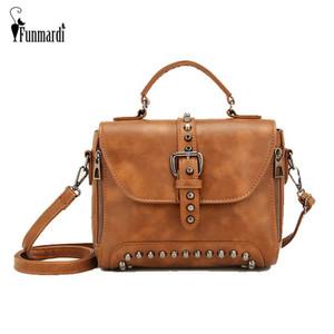 Womens Bag FUNMARDI Rivet Vintage Crossbody Bag For Women Shoulder Handbag Sólidos Couro PU Ladies Tote WLHB1809