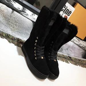 NEUE Frauen Luxus Designer Stiefel Martin Boot Print Leder Kniehohe Stiefel Winter Wildleder Echtpelz Rutschen Marke Mode Luxus Freizeitschuhe W1