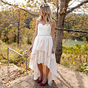 2019 Новый Милая Высокая Низкая Свадебные Платья С Плеча Складки Кристалл Створки Кружева Короткие Свадебные Платья Vestido Де Novia