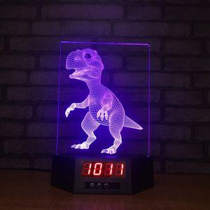 Dinozor Saat 3D Illusion Night Lights LED 7 Renk Değişimi Masa Lambası Ev Dekorasyonu # R42