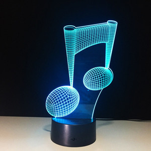 7 Color Change LED Lamp 3D Music Note Night Light Musical Note Instrument Gift Home Decor Acrylic Light Fixtures #R87