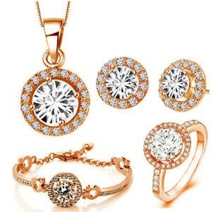 Lusso 18K placcato oro rosa lucido zircone cristallo collana orecchini braccialetto anello gioielli set per donne realizzati con elementi swarovski 4 pezzi / set