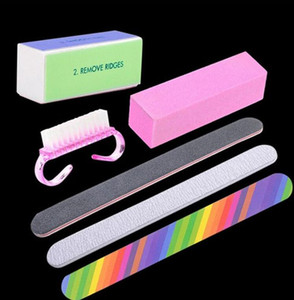 Kit de manicura para uñas Juego de cepillos de limpieza para cepillos de uñas Durable Buffing Grit Sand Fing Nails Buffers Lijado Nail Art UV Gel Herramientas de esmalte 6pcs / set