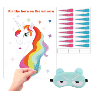 Unicornio Wall Sticker Party Ornament Supplies Cartoon Pin The Horn In Unicorn Poster Bambini Gioco Give Eyepatch 15 3hb Ww
