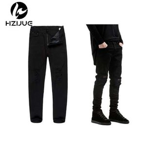 HZIJUE New Black Ripped Jeans Men With Holes Super Skinny Famous Slim Fit Destroyed Torn Jean Pants For Male