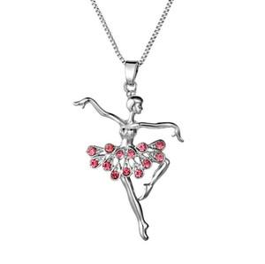 Collier de danseuse de ballerine délicate danse fille pendentif avec la chaîne de chandail de crtstal les amateurs d'anniversaire beau cadeau bateau gratuit