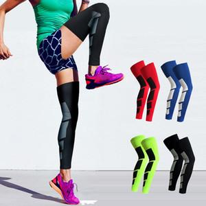 1 쌍 Unisex Antiskid 스포츠 실리콘 전문가 긴 무릎 지원 중괄호 패드 야외 수호공 스포츠 농구 다리 슬리브 스포츠 Kneepad