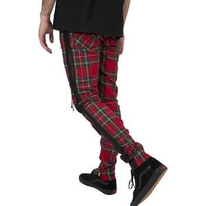 빈티지 스코틀랜드 격자 무늬 운동복 하이 스트리트 트렌드 스트라이프 발목 지퍼 조깅 바지 성격 힙합 루스 바지