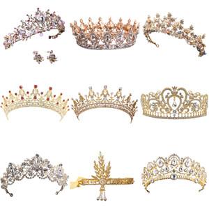 Sıcak Satış Altın Kristal Tiara Taç Düğün Saç Aksesuarları Için Prenses Kraliçe Düğün Taç Rhinestones Gelin Saç Takı