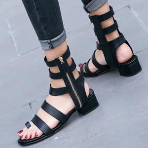Sandales, 2018 femmes, été, nouveau style, européennes et américaines, fermeture à glissière à fond haut et bas, tube moyen haut, Rome, bottes fines et cool.
