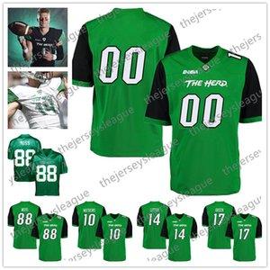 Marshall Thundering Herd Personalizzato Qualsiasi nome Qualsiasi numero Verde Nero Bianco Cucito # 1 Willie Johnson 3 Tyler King NCAA College Football Jersey