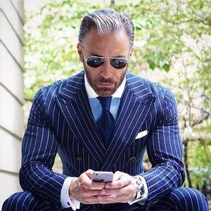 Kraliyet Mavi Halat Şerit erkek Slim Fit İş Takım Elbise Kruvaze Doruğa Yaka Balo Blazer Custom Made Ceket ve Pantolon Balo Parti için