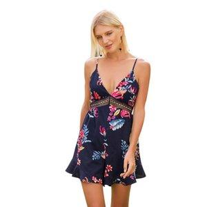 Mujeres Sexy Beach Romper Shorts V cuello floral impreso correa de espagueti Playsuits elegante ahueca hacia fuera colorido mono bohemio