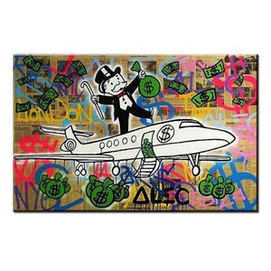 Alec Monopoly Handpainted Abstract graffiti Art oil painting Fly Home Decor Wall Art On High Quality Canvas Multi Sizes g281