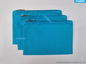 Красивый и прочный Чирок синий 12 унций хлопок холст макияж сумка соответствия Чирок синий металлик золото молния и подкладка 7x10 дюймов 50 шт. / лот