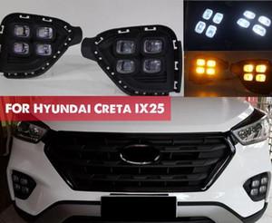 Hyundai Creta IX25 2017 Için DRL 2017 2018 LED Gündüz Çalışan Işık Güney Amerikan versiyonu sis DRL sarı dönüm sinyal lambası ile