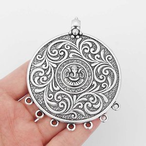 5pcs Large Antique Silver Round Charms Flower Ganesha Elephant Buddha Connector Pendants For Necklace Making Findings