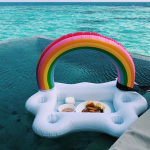 Красивая радуга арки надувной держатель чашки бар льда шелушащиеся облака воды каботажное судно бассейн поплавок чашки напиток сиденье поддержка на воде 35xr х