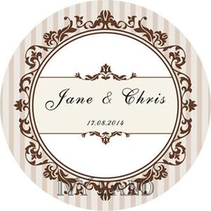 Envío gratis, papel nuevo, etiqueta / etiqueta adhesiva personalizada, para boda / fiesta, círculo 5cm