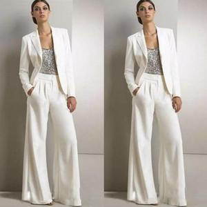 2019 NOUVEAU Modest Bling Sequins Pantalons Convient à la mère des robes de la mariée Formel Tuxedos Tuxedos Femmes