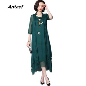 Anteef chiffon vintage embroidery plus size women casual loose long summer dress vestidos femininos 2018 dresses