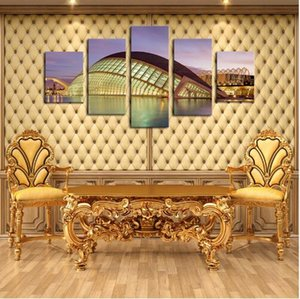 Free shipping Modular Canvas HD Prints Posters Home Decor 5 Piece The Modern Architecture Home Art Portait Poster Wall Pictures
