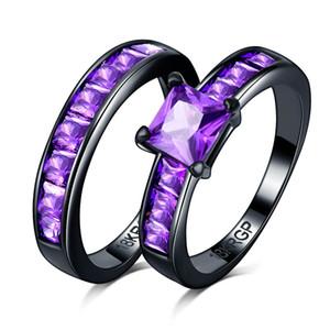 Estilo caliente piedra púrpura Negro oro CZ Circón Joyería de compromiso Eternidad Mujeres Banda Apilamiento anillos de pareja establecidos para la boda