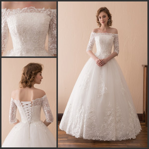 Free Shipping 2018 New Tulle White Ivory Bateau Vintage Lace Applique Half Sleeves Lace-up Full Length Ball Gown Wedding Dress On Stock