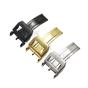 18mm Argent Noir Or Acier Inoxydable Déploiement Dépliant Solide Boucle Déployante Boucle Fermoir pour PILOT'S WATCHES PORTUGIESER