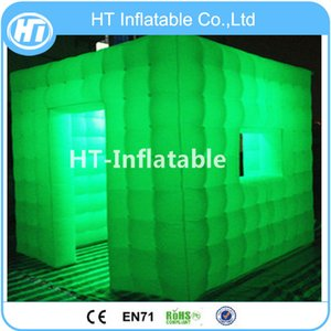 Free Shipping 2.4x2.4 mts Cube Tube LED Inflatable Photo Booth Enclosure Made In Guangzhou Inflatable Factory For