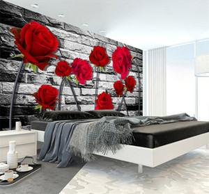 Custom Wall Mural Photo 3D estereoscópico en relieve papel pintado no tejido rojo Rose Brick Wall Papers decoración salón dormitorio