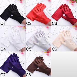 Economici Spandex Five Fingers Gloves Thin Perform Gloves White Dance per donne e uomini Mittens 8 colori all'ingrosso
