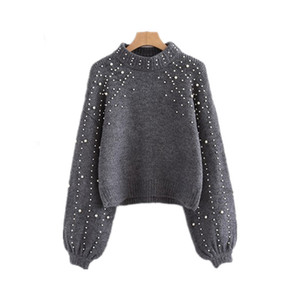 Fashion Autumn Jumper Women Grey Beading Pearl Winter Sweater Pullover Knitted Female Lantern Sleeve Coat Sweter Mujer