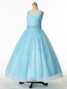 Lovely Sky Blue Straps Tulle Beads Flower Girls 'Dresses Brithday Girl Dresses Vestido formal de las muchachas Vestidos de fiesta Custom SZ 2-12 DF705201