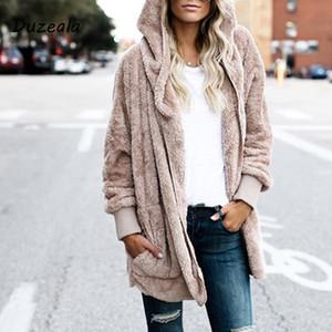 Yeni Moda Bahar Faux Kürk Sıcak Kış Palto Her Iki Tarafın Üzerinde Ceket Kadınlar Açık Dikiş Kapşonlu Coat Kadın Uzun Kollu Bulanık Ceket S18101202