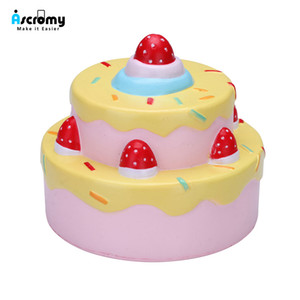 """Ascromy Squishy Toys Slow Rising 4.3 """"Vlampo 2 Layer Squishies Scented Strawberry Birthday Cake Decoración Juguetes Amarillo"""