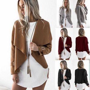 Frauen Revers Neck Langarm Casual Jacke Mäntel Unregelmäßigen Herbst Dünne Kurze Outwear Tops Frauen Kleidung OOA4058