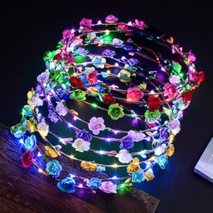 LED Glow Çiçek Taç Bantlar Işık Parti Rave Çiçek Saç Garland Çelenk Düğün Çiçek Kız Başlığı Dekor