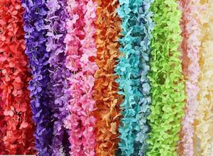 2 미터 길이의 우아한 레이온 꽃 덩굴 등나무 고리 버들 결혼식 장식 꽃다발 화환 집